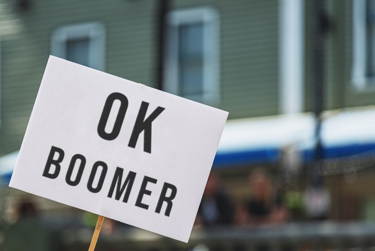 Protest sign with OK Boomer.