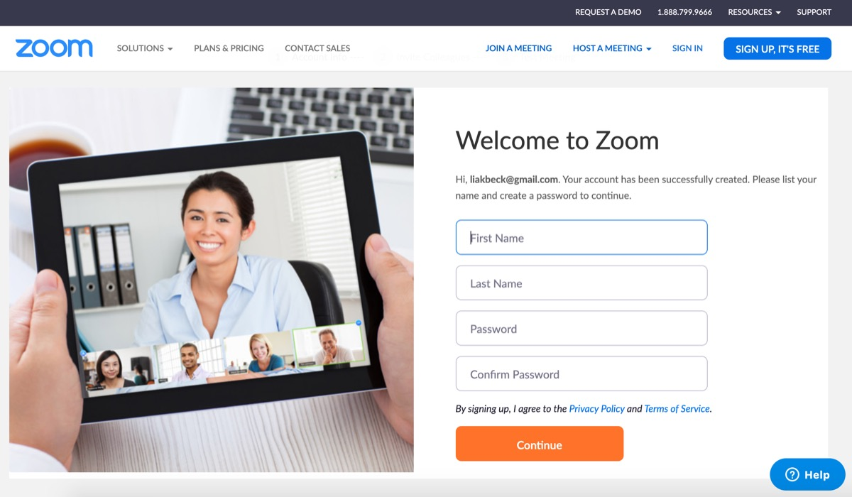 Zoom welcome screen