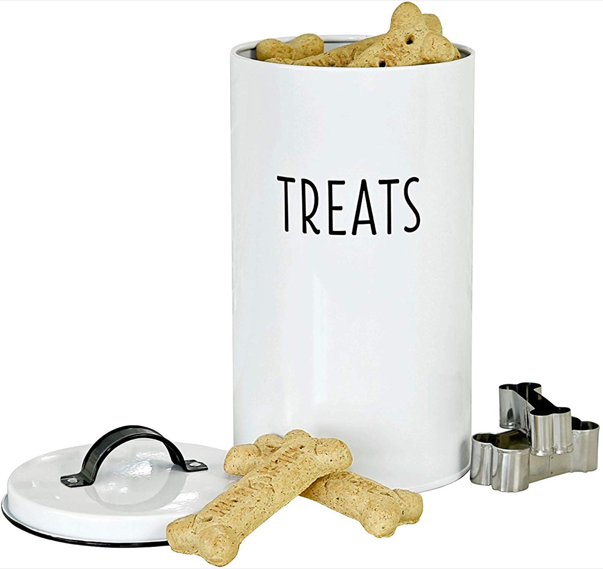 White enamel treat tin with biscuits