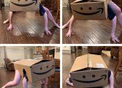 person in amazon box