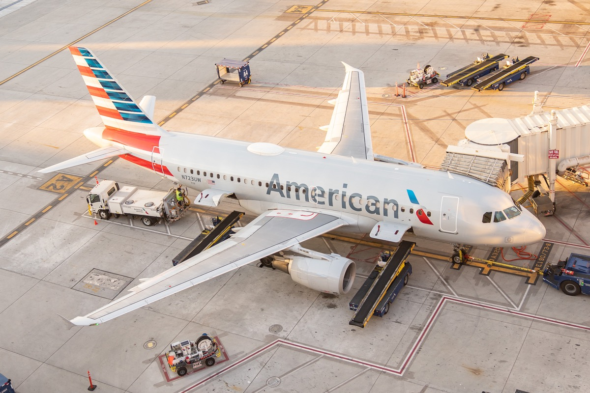 american airline plane parked