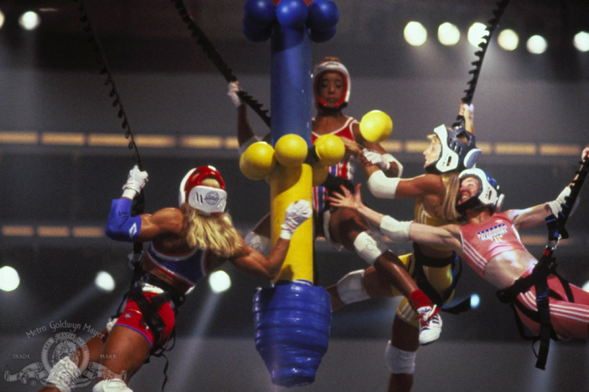 A stunt from the show American Gladiators