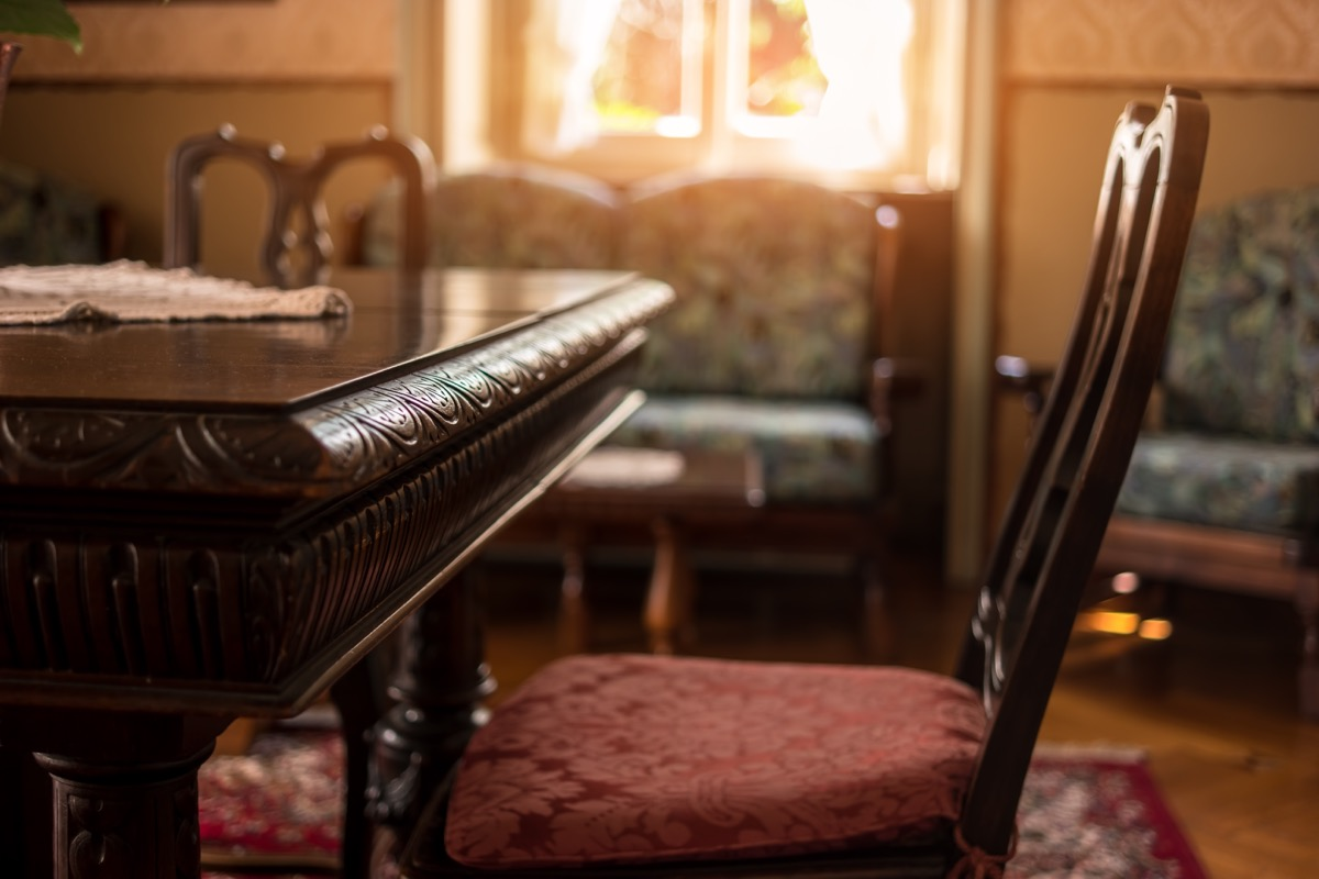 antique wood table in victorian style