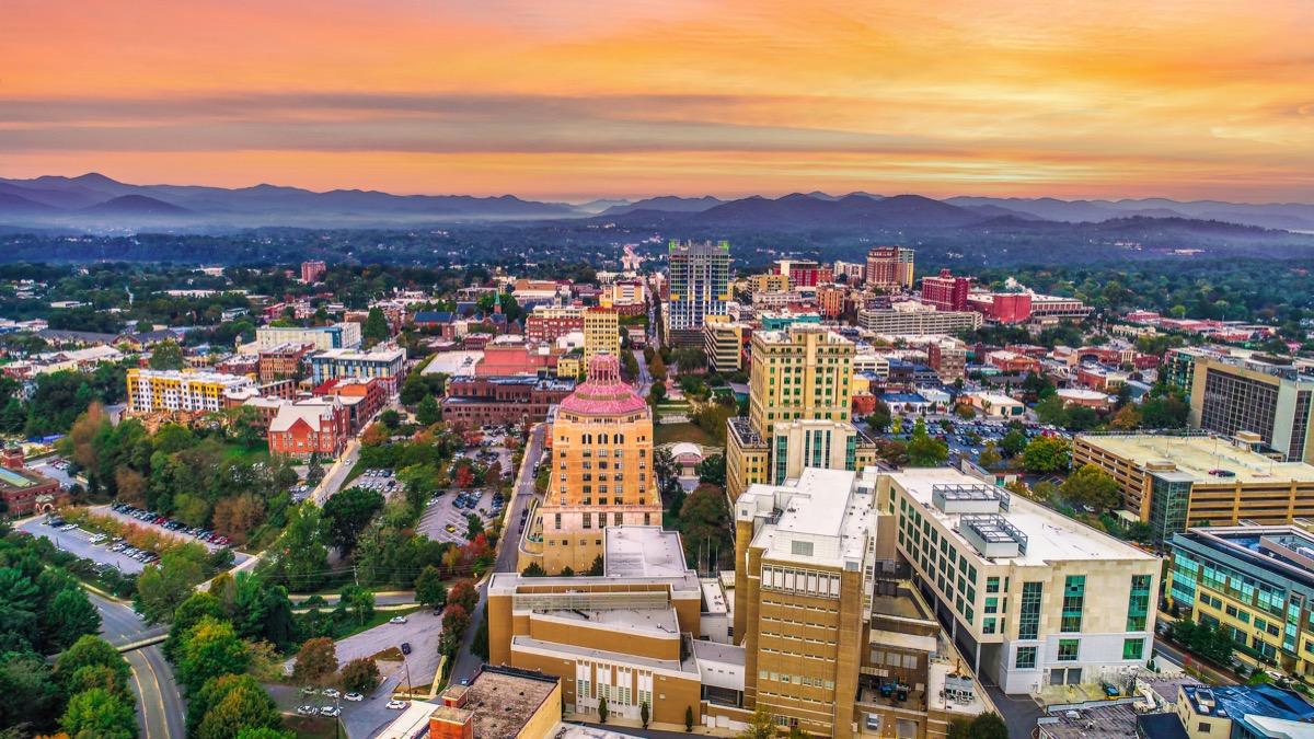 Downtown Asheville North Carolina NC Skyline Aerial.