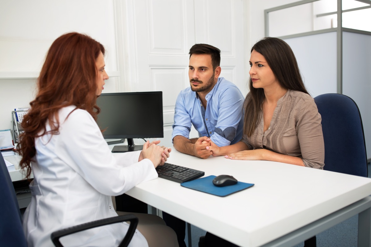 Couple at fertility doctor
