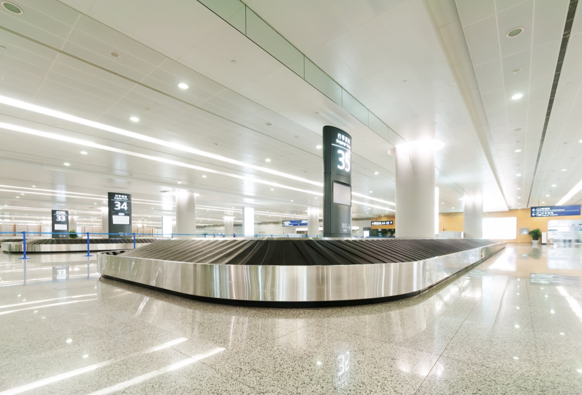 an empty baggage claim area