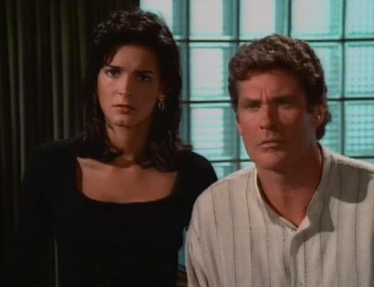 Angie Harmon and David Hasselhoff in Baywatch Nights