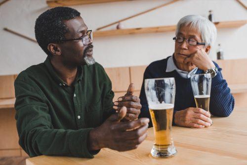 Men talking over beers