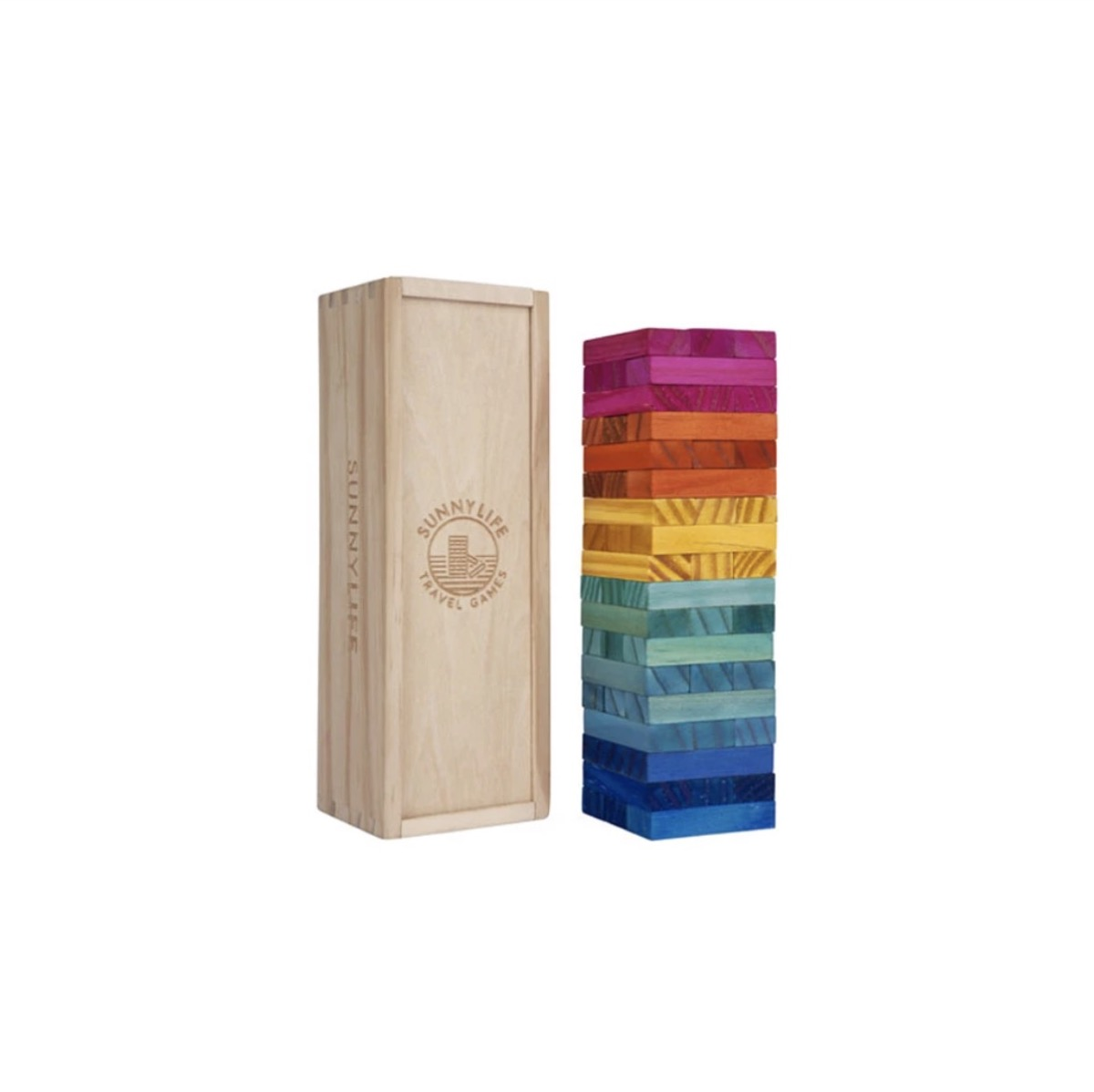 rainbow wooden block game and wooden storage box