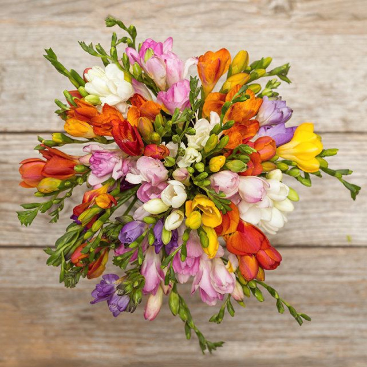 floral bouquet on wooden table