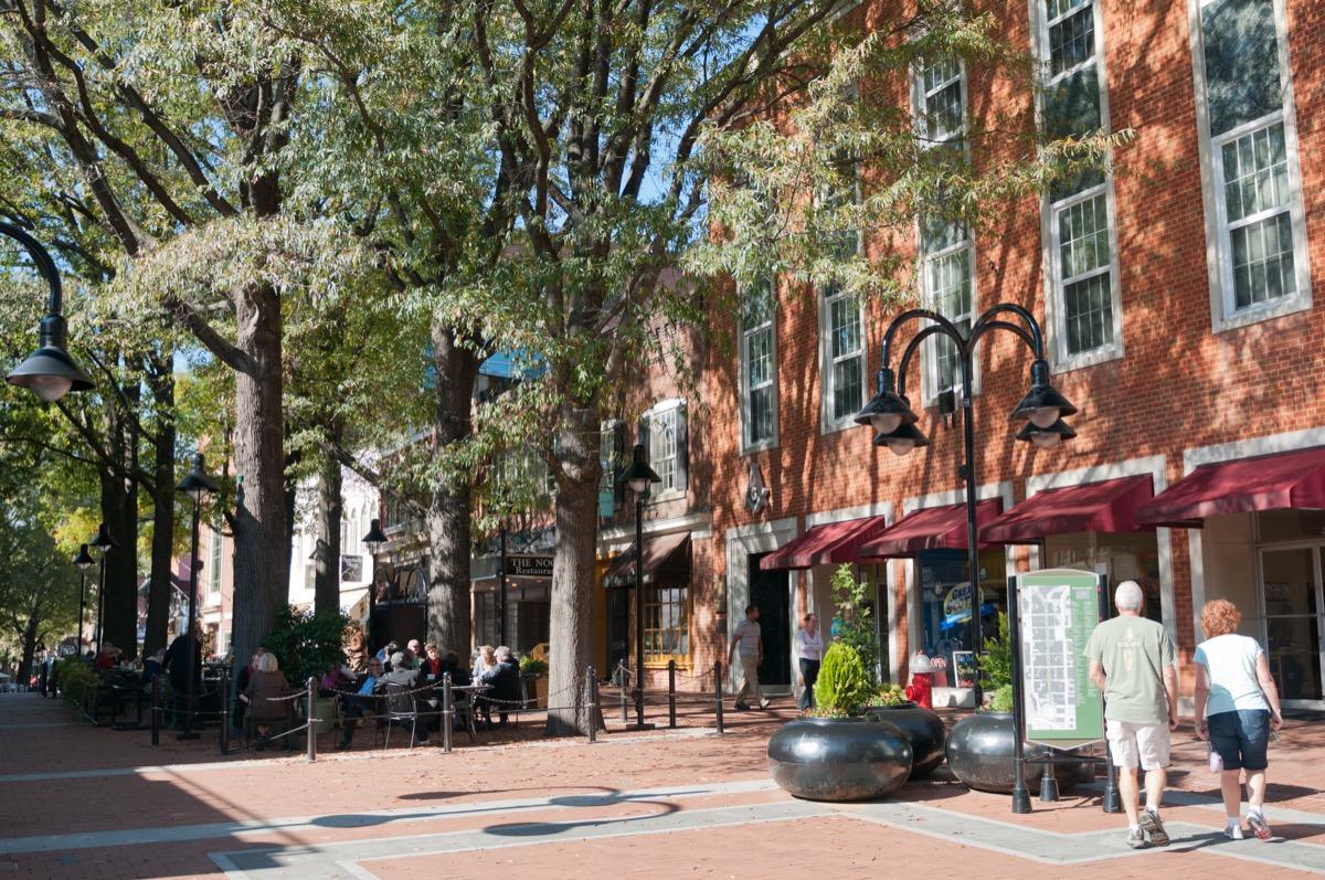 Main street in downtown Charlottesville, Virginia.