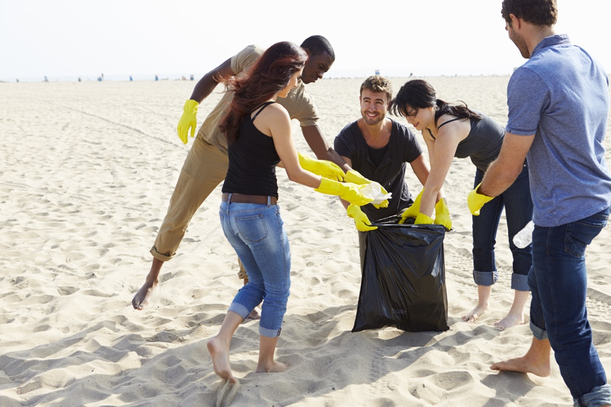 Group doing a beach cleanup