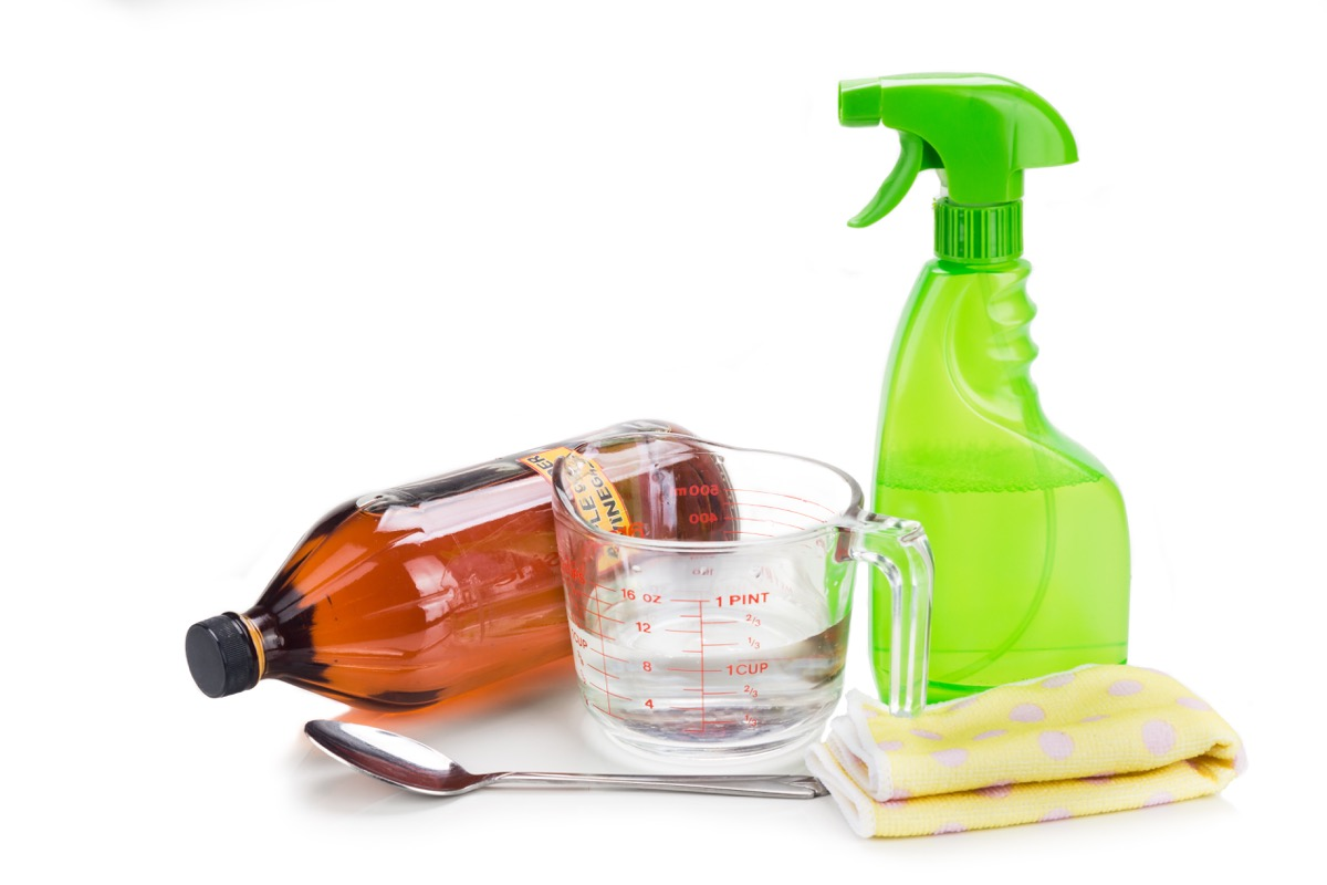 Homemade cleaning solution vinegar and water