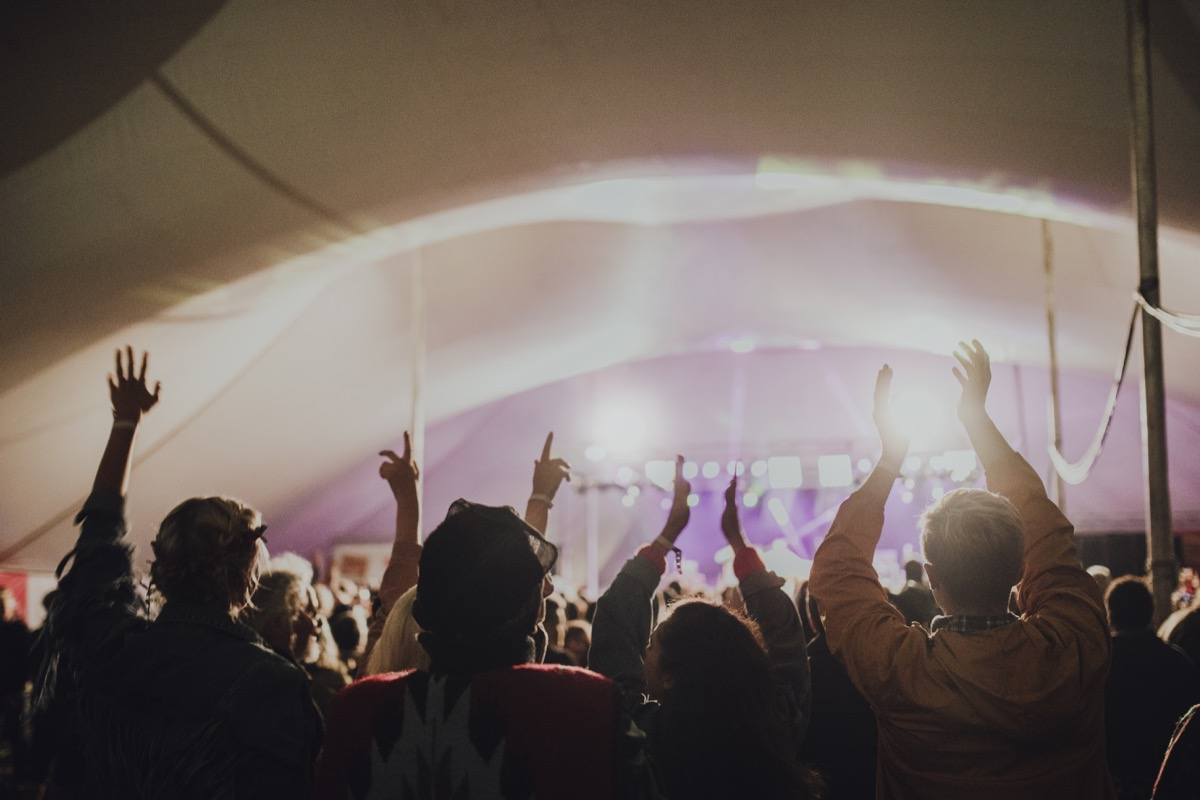 Crowd at a music festival with hands raised in the air.