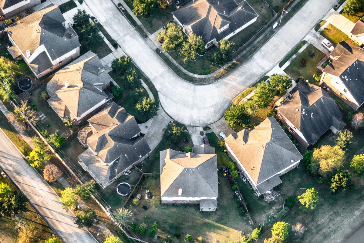 aerial view of a suburban cul-de-sac