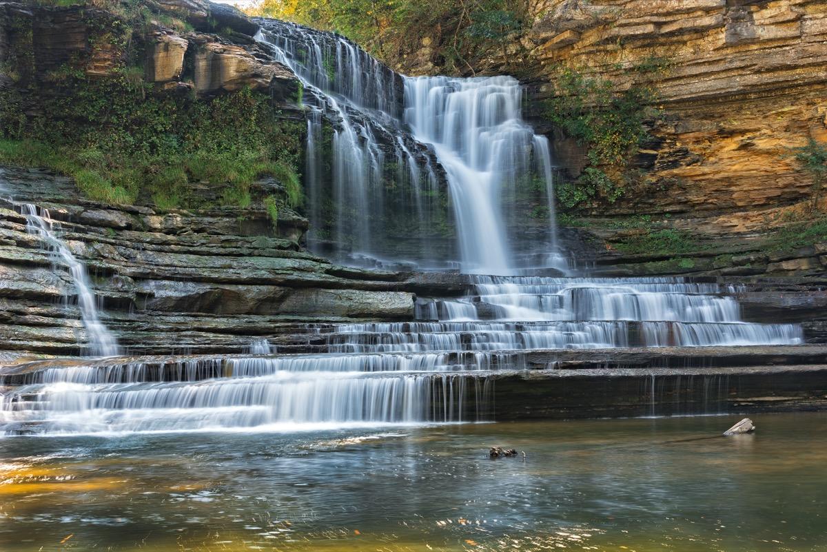 waterfalls cascading down rocks