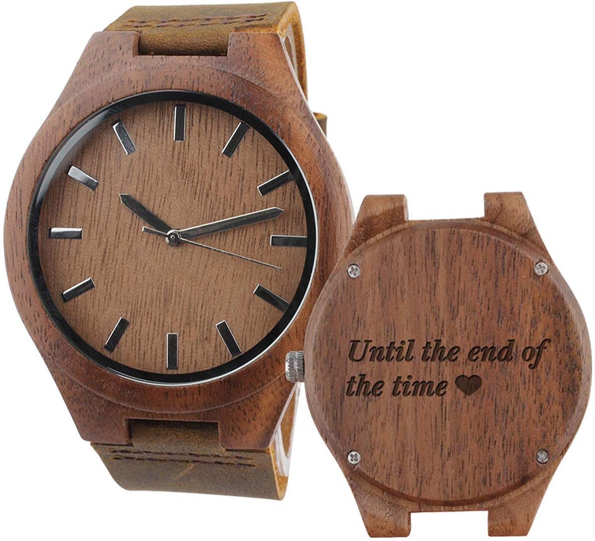 Men's customized wooden watch