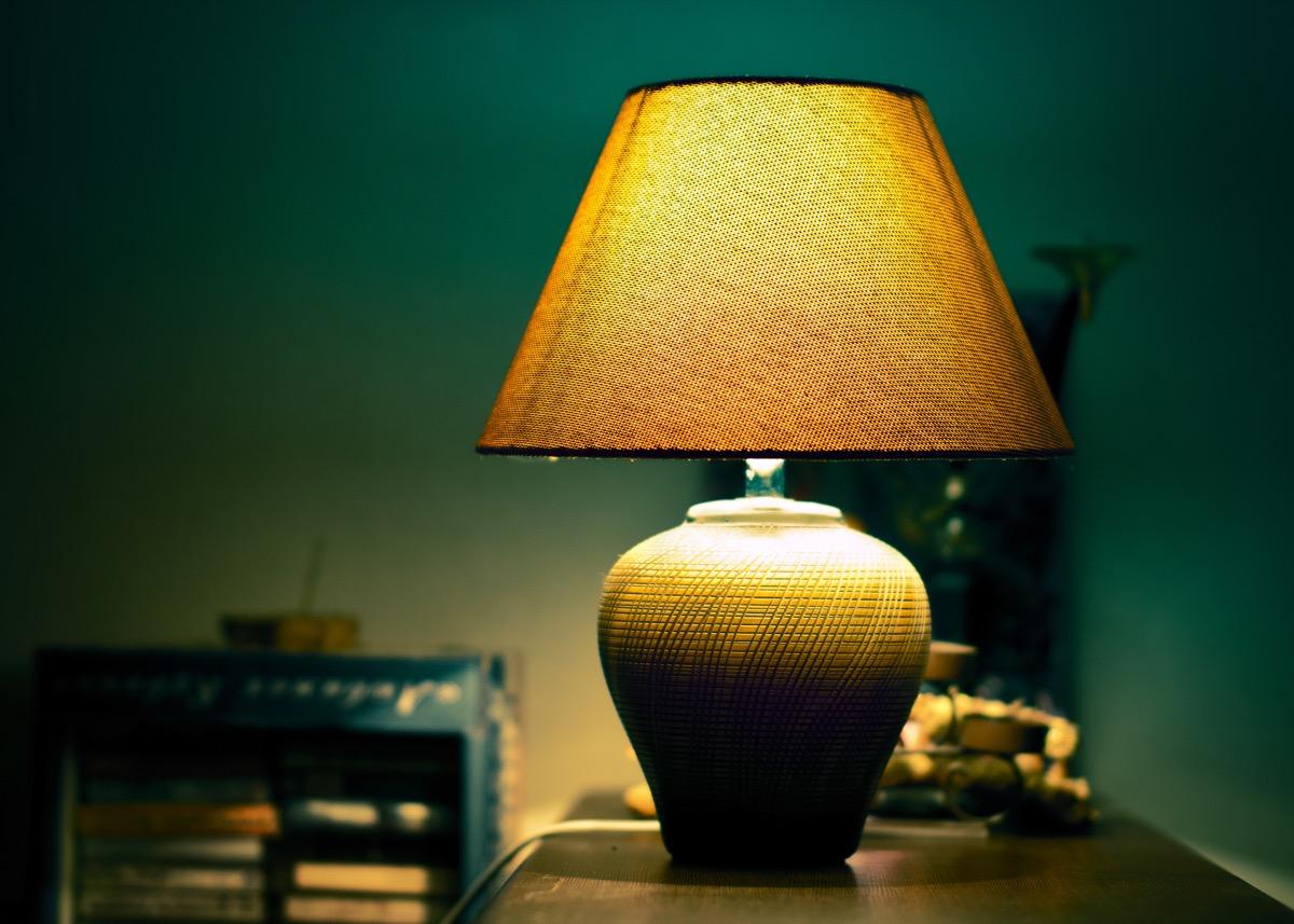dim lamp on nightstand
