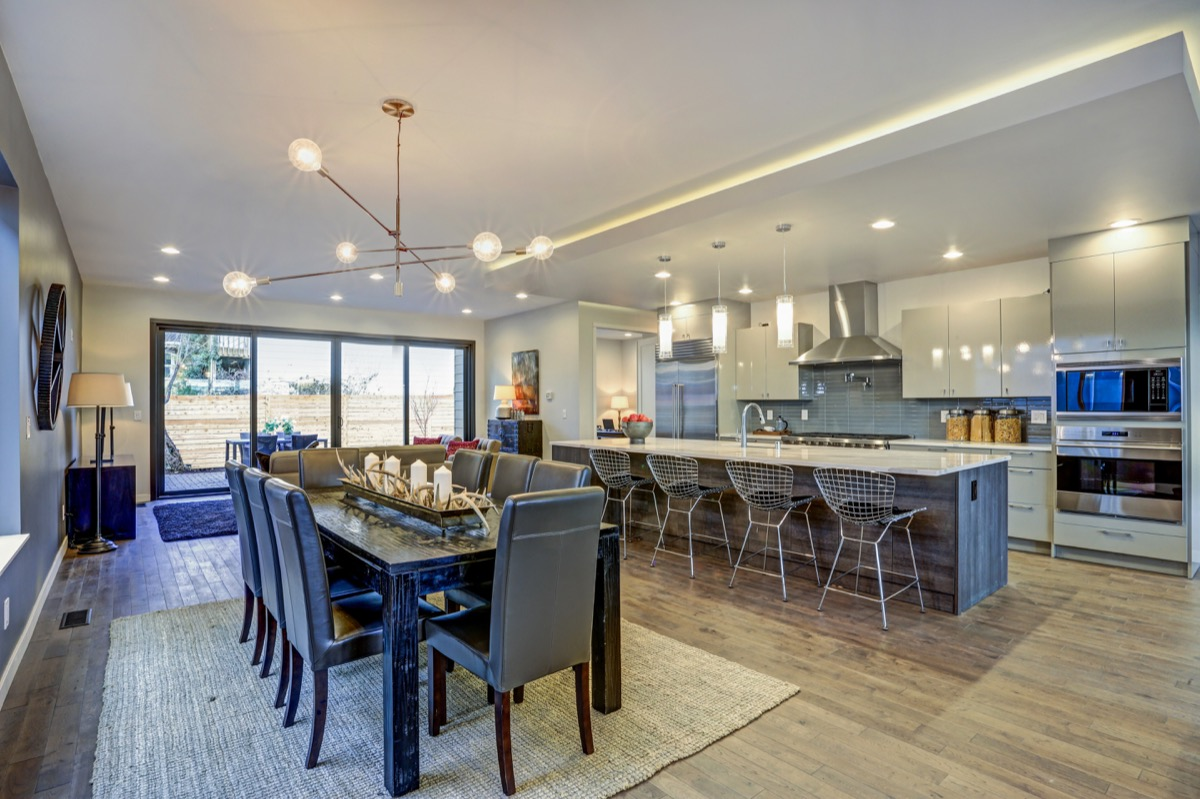 dining room with sisal rug