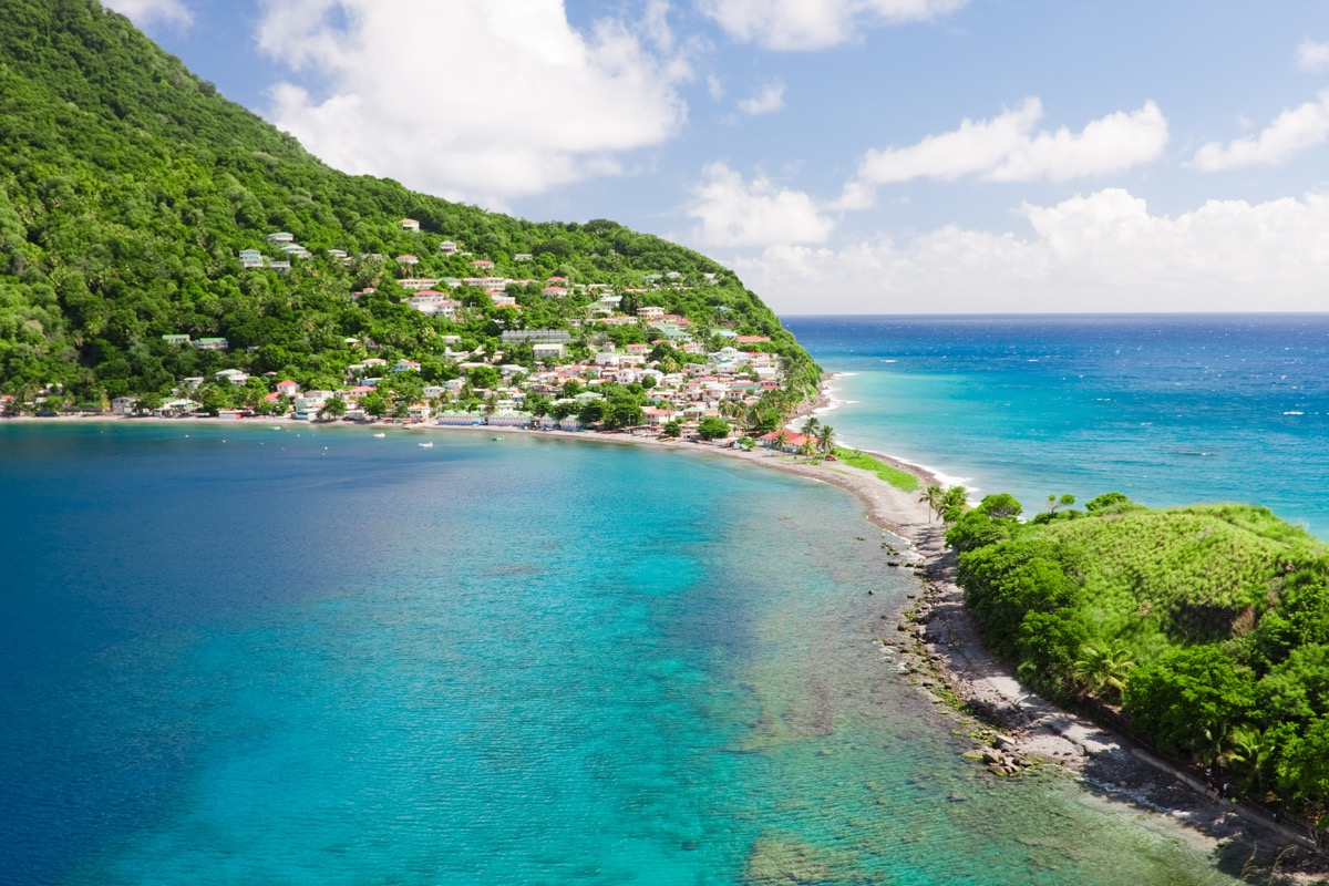 Dominica, a caribbean island. The village of Scotts Head, south-western tip of the island