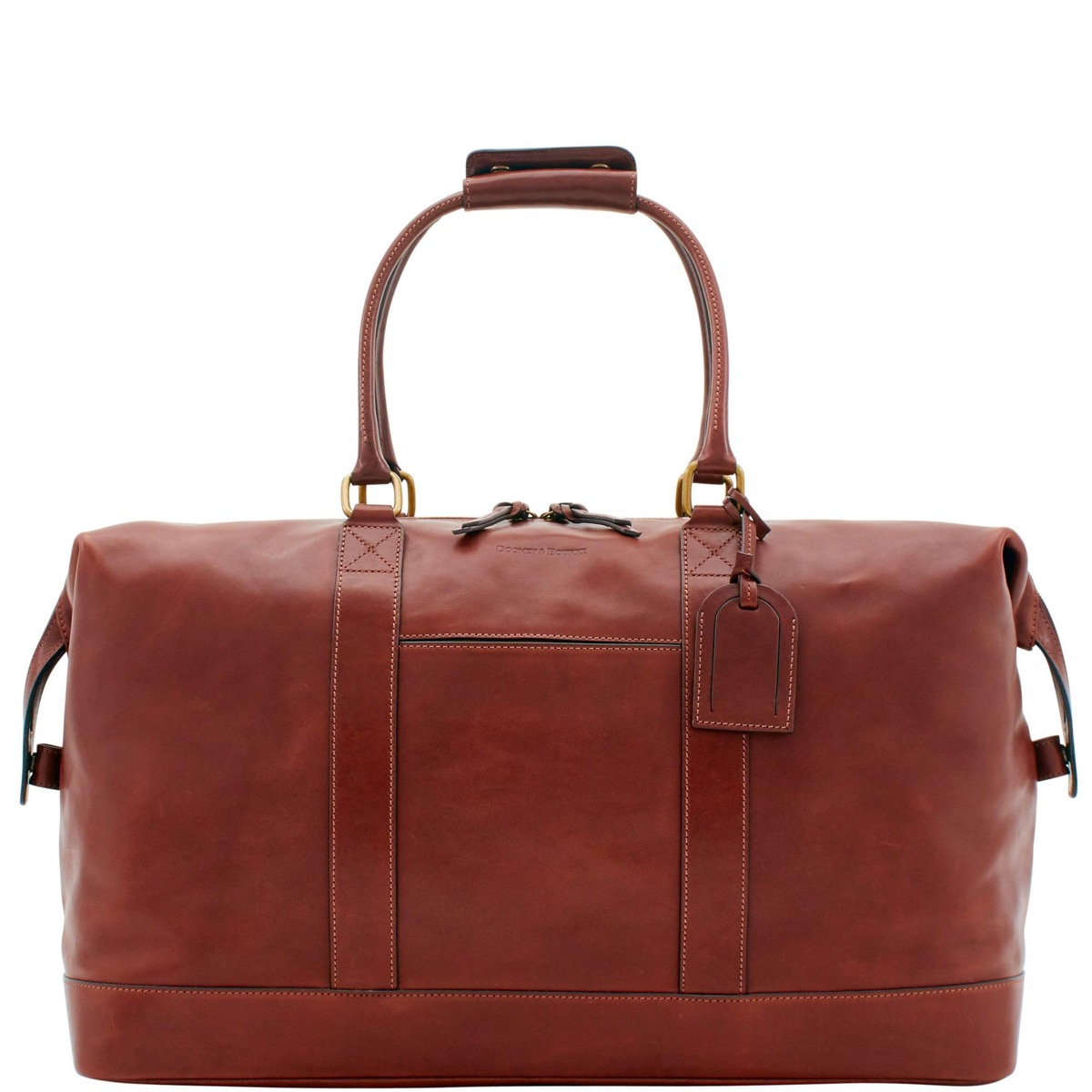reddish brown leather bag with top handles