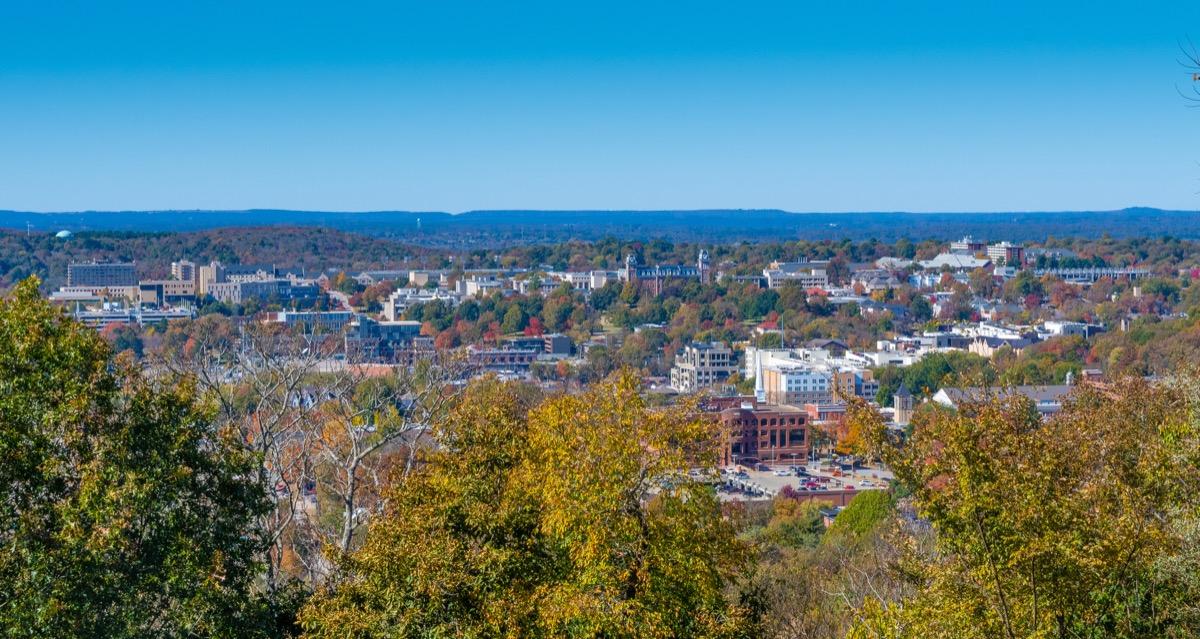 Overlook of the town of Fayetteville, Arkansas with the University of Arkansas