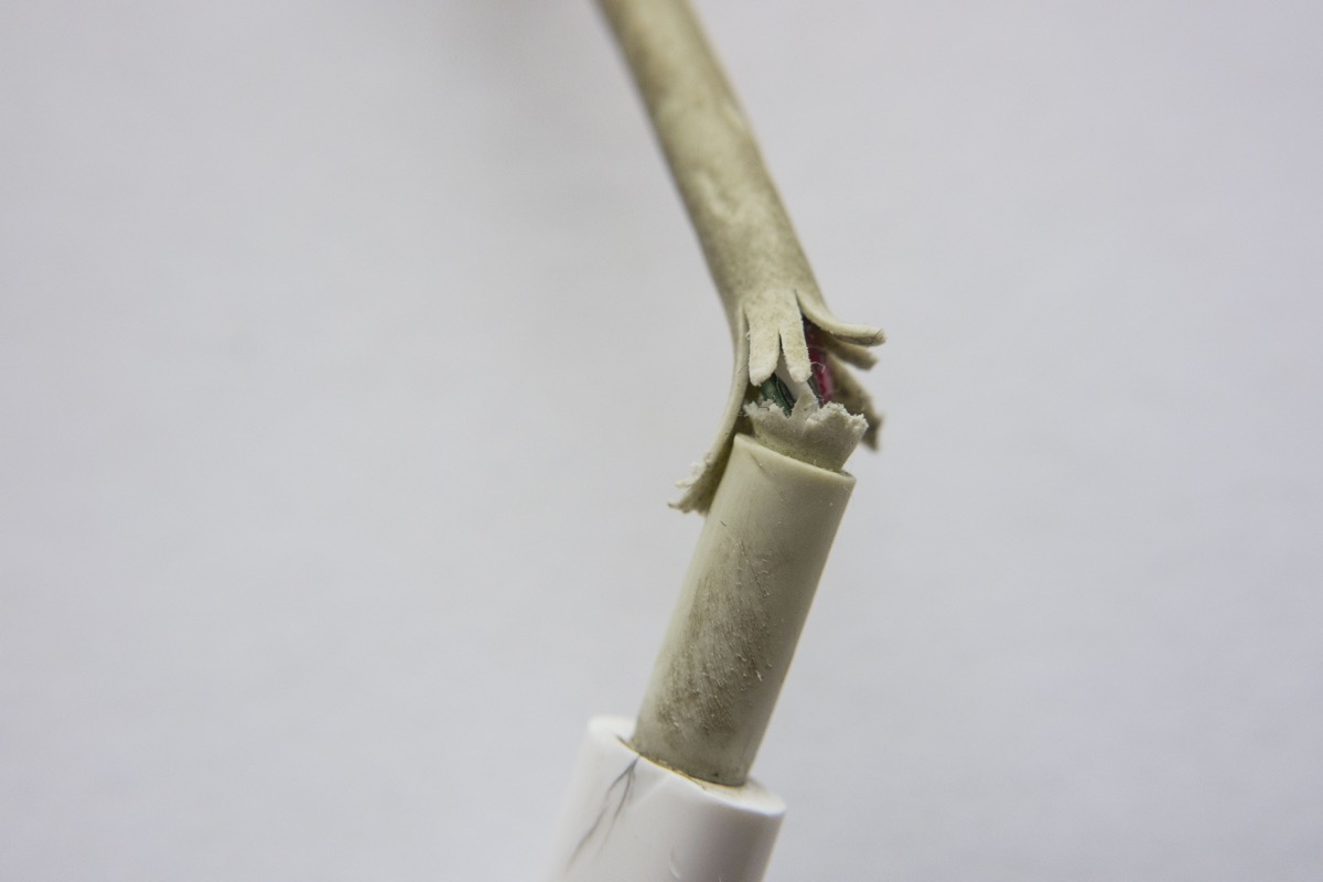 fraying phone charger cable