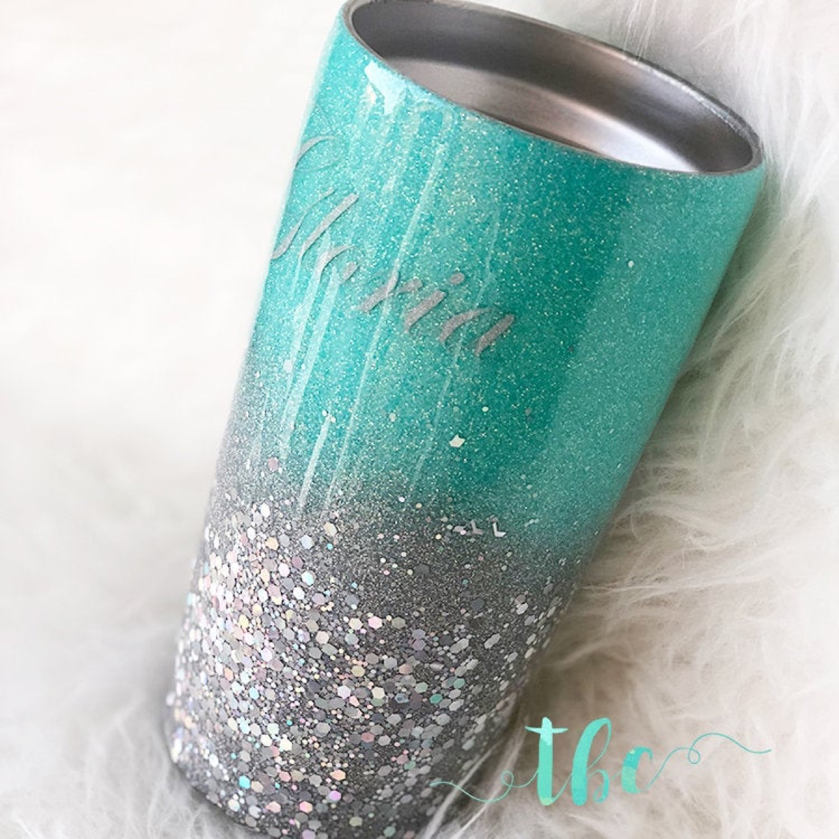 insulated tumbler with silver name, teal top and glittery silver bottom