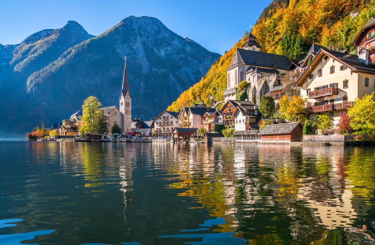 Scenic panoramic picture-postcard view of famous Hallstatt mountain village