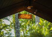 aloha Hawaii sign on top of a building
