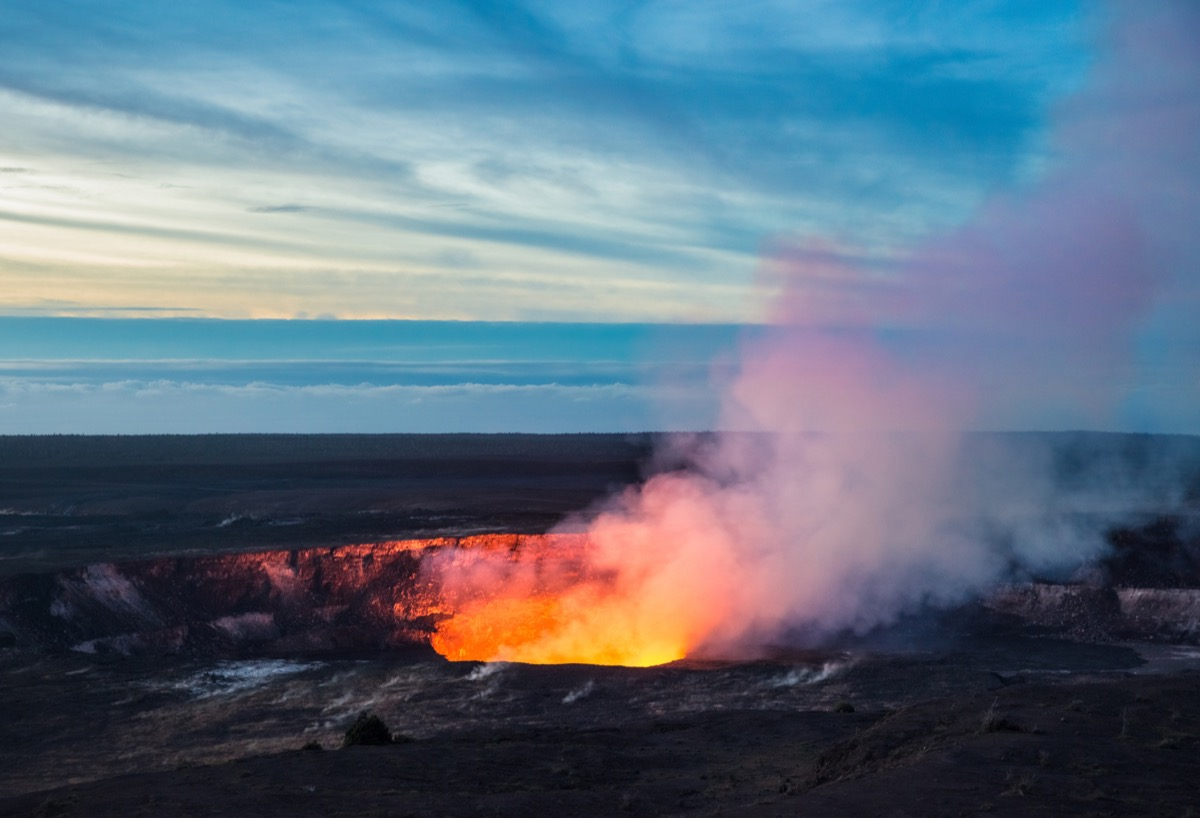 Fire and steam erupting from Kilauea Crater (Pu'u O'o crater), Hawaii Volcanoes National Park