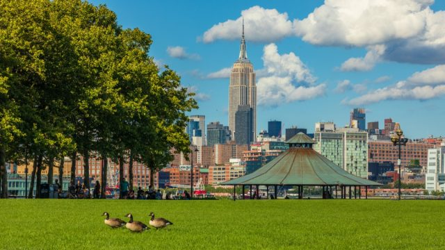New Jersey, located on Upper New York Bay in Jersey City, opposite both Liberty Island and Ellis Island.
