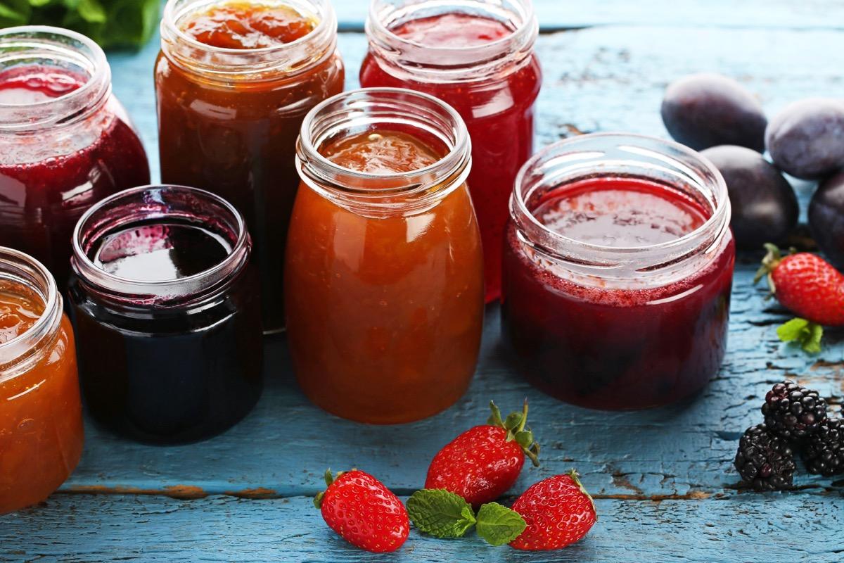 Homemade jams in jars