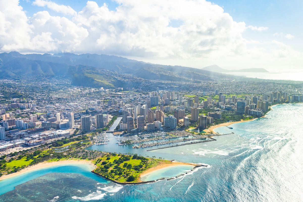 Beautiful aerial view on the island of Oahu, Honolulu city on Hawaii from the sea plane.