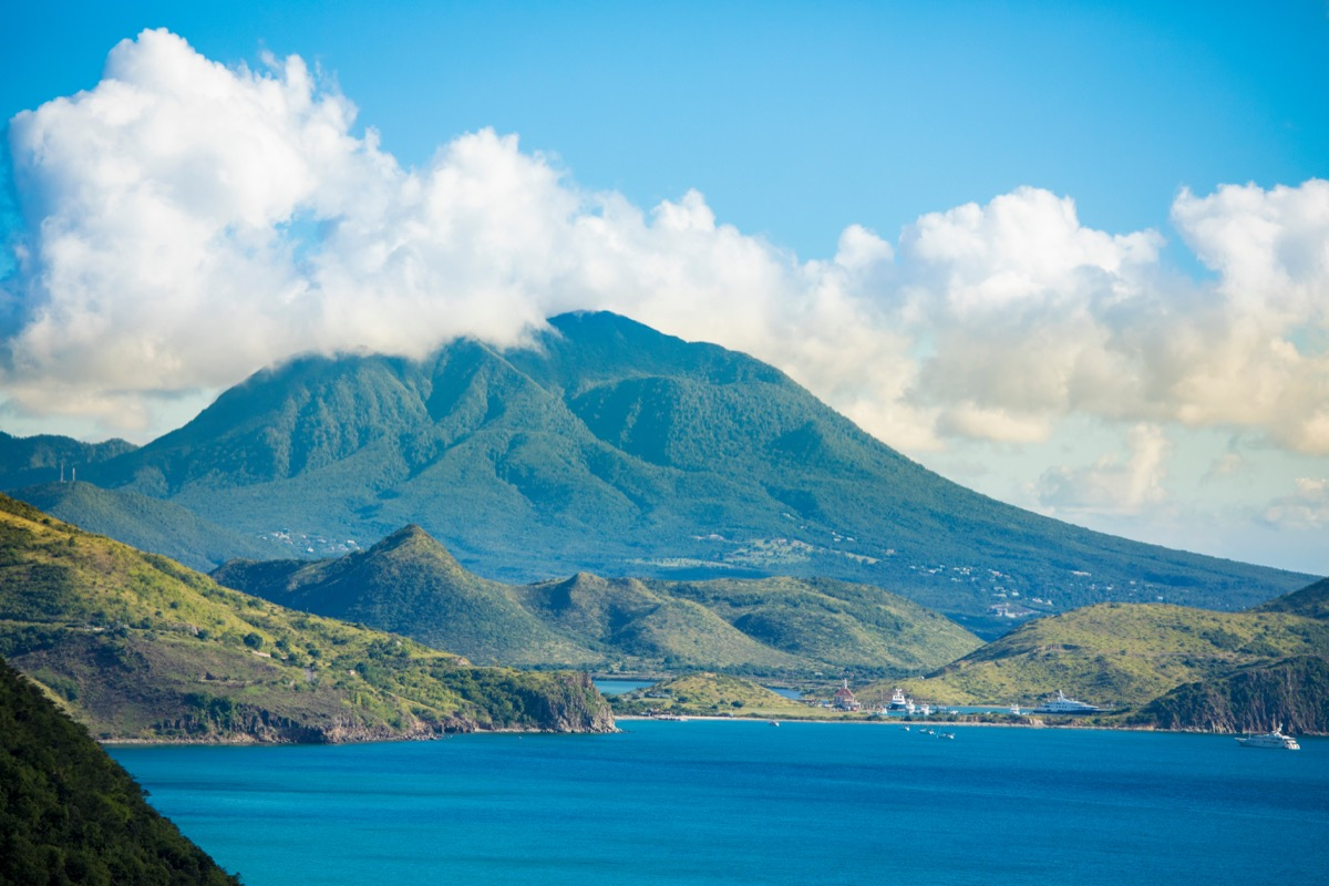 nevis island viewed from its sister island St. Kitts