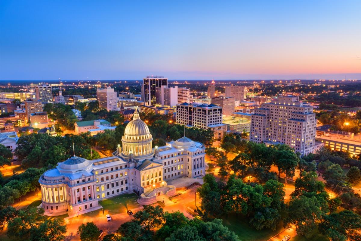 Jackson, Mississippi, USA skyline over the Capitol Building.