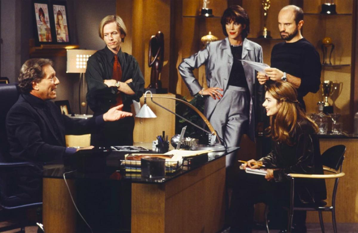 George Segal, David Spade, Wendie Malick, Enrico Colantoni and Laura San Giacomo in Just Shoot Me