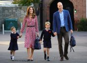 Kate Middleton and Prince William bring Princess Charlotte and Prince George for their first day of school at Thomas's Battersea in London in Sept. 2019