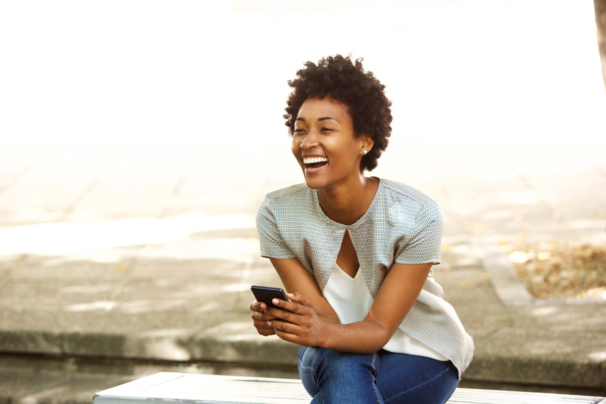 Woman laughing at herself
