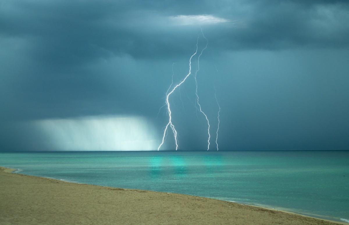 Lightning on Miami Beach Florida