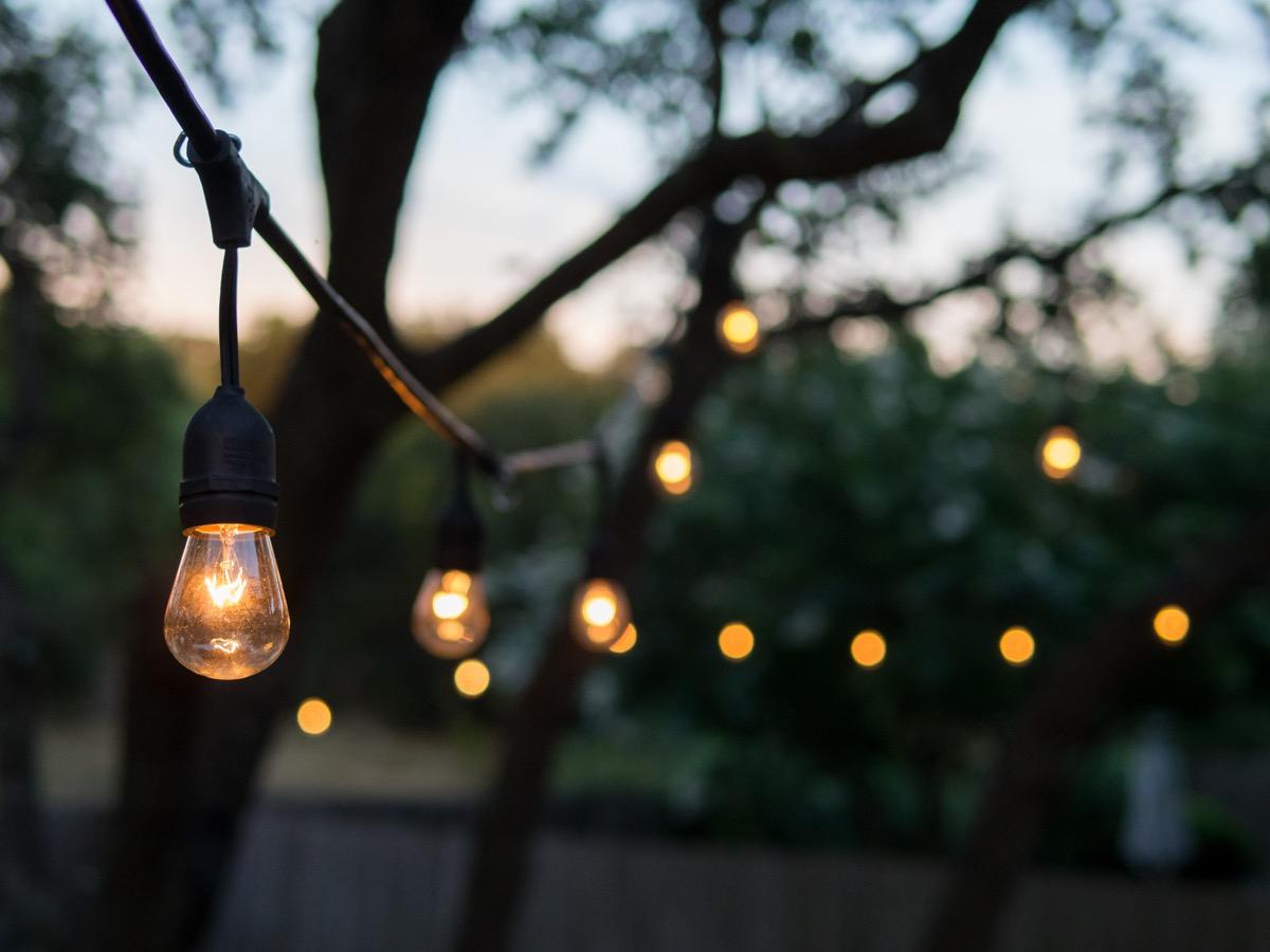 Outdoor decorative light bulbs on a string