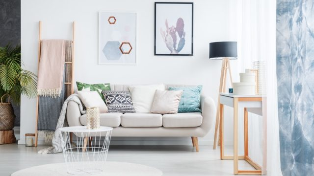 modern living room with two paintings