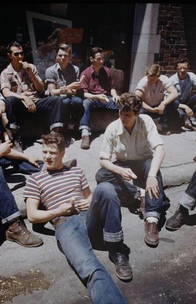 vintage photo of male teens on street in the 1950s