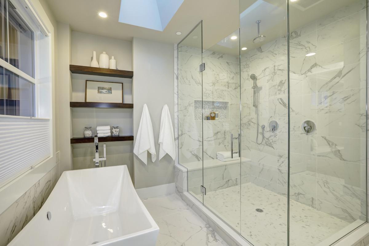 Marble shower bathtub bathroom