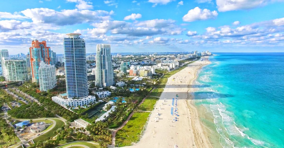 Beach and city of Miami