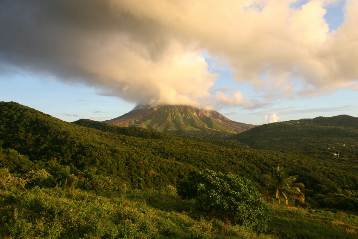 volcano on montserrat island