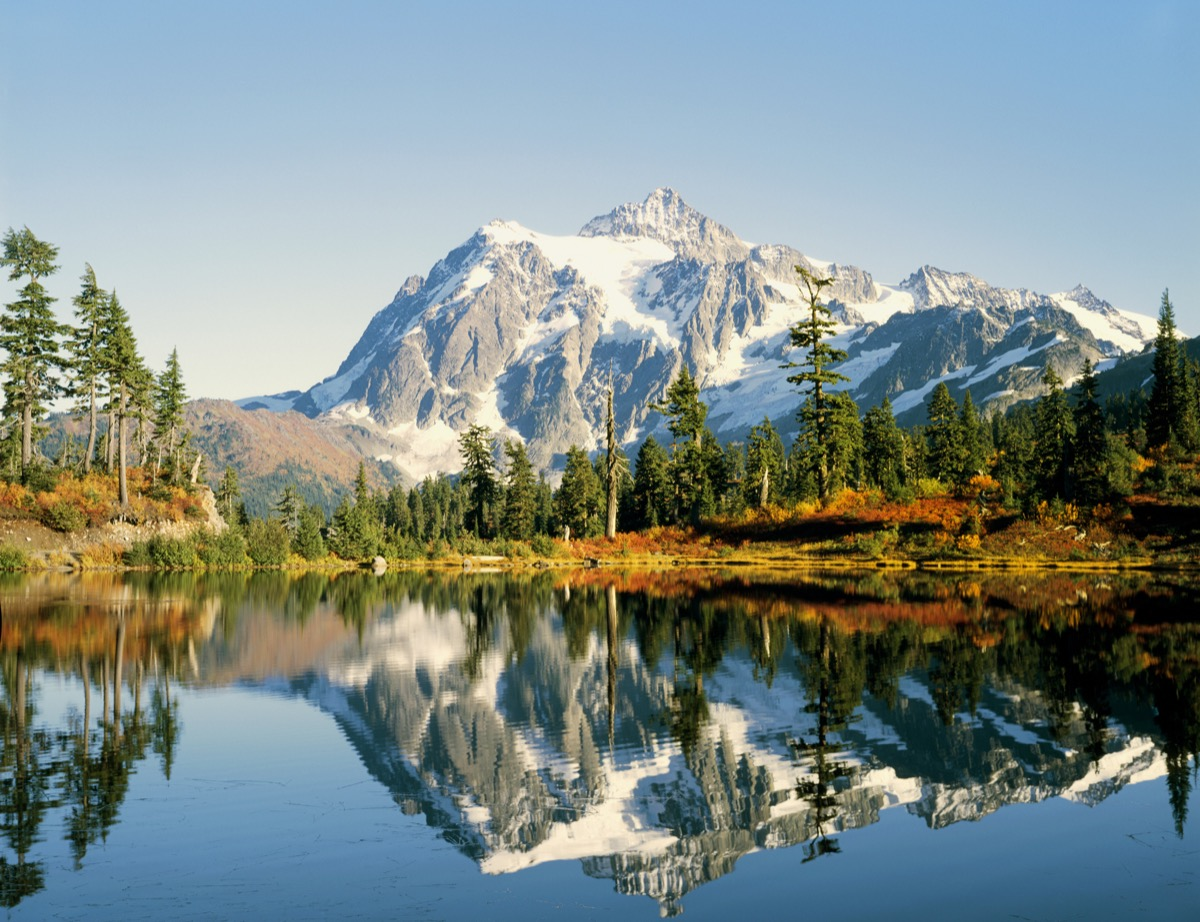 Mt Shuksan in Washington state in late autumn - Picture Lake in foreground.