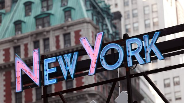 neon new York sign hanging up