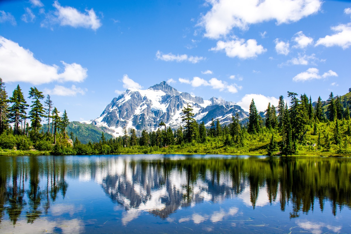 Mt. Shuksan reflected in Picture lake at North Cascades National Park