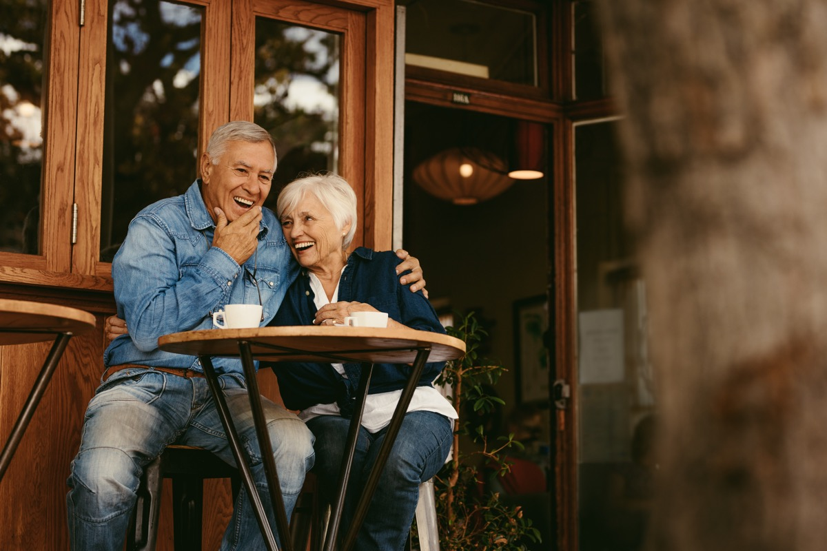 Older couple at coffee shop